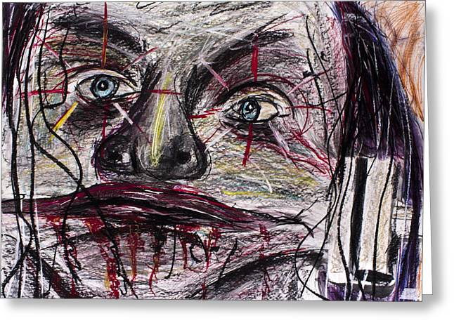 Jester Pastels Greeting Cards - Face stretcher Clown Jester zombie 3000 Greeting Card by Don Lee