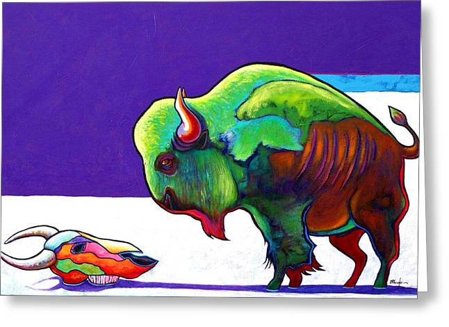 The American Buffalo Paintings Greeting Cards - Face to Face Bison Greeting Card by Joe  Triano