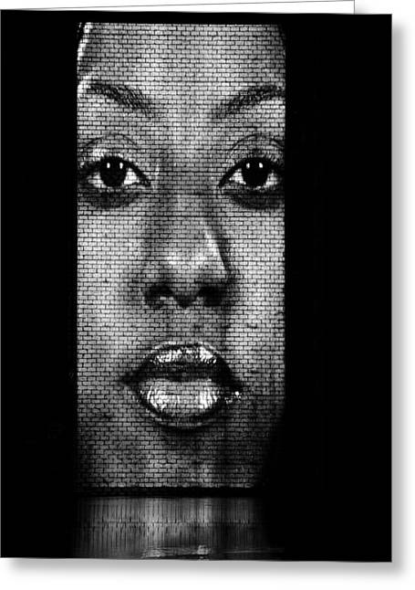 Female Faces Greeting Cards - Face to Face - Crown Fountain Chicago Greeting Card by Christine Till