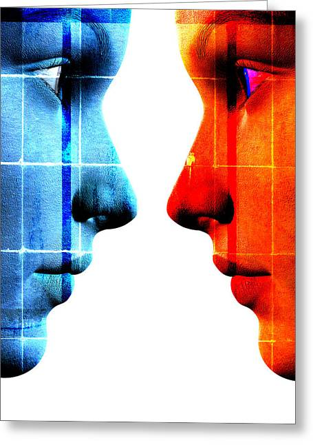 Woman Head Greeting Cards - Face To Face Greeting Card by David Ridley