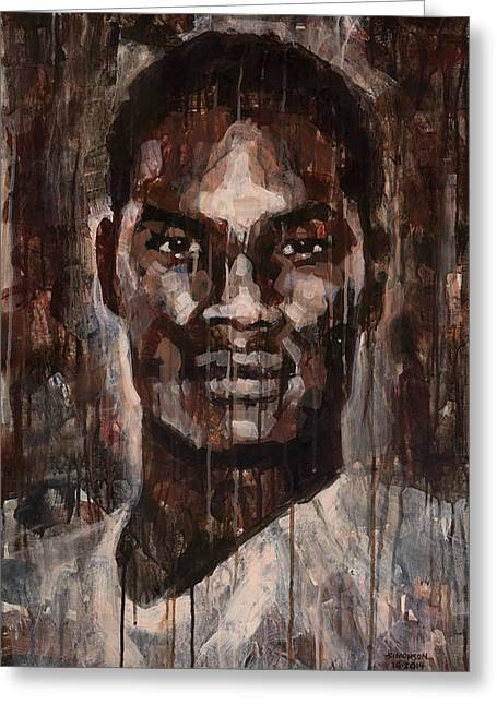 African-american Paintings Greeting Cards - Face to Face Greeting Card by Douglas Simonson