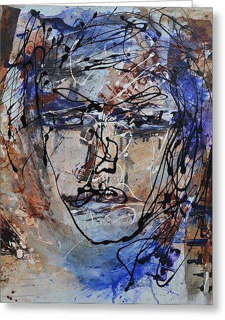 Recently Sold -  - Beauty Mark Mixed Media Greeting Cards - Face to Face Greeting Card by Blue Art