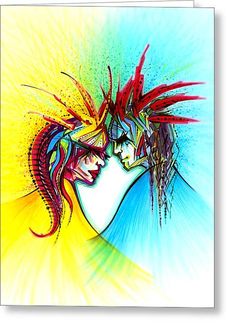 Andrea Drawings Greeting Cards - Face to Face II Greeting Card by Andrea Carroll