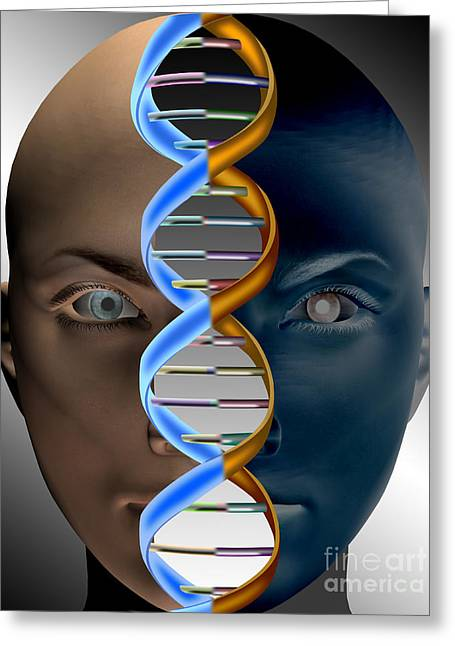 Computer Generated Art Greeting Cards - Face With Dna Greeting Card by Mike Agliolo