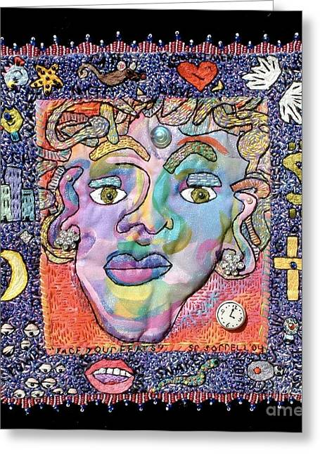 Face Tapestries - Textiles Greeting Cards - Face Your Fears Greeting Card by Susan Sorrell
