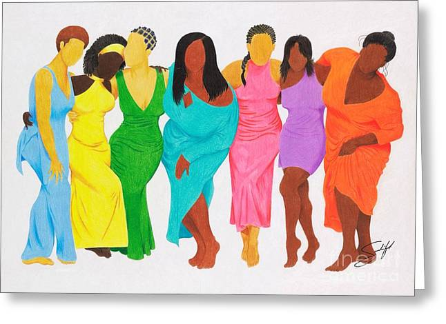 African-american Drawings Greeting Cards - Faceless Beauty Greeting Card by Rod Sandiford
