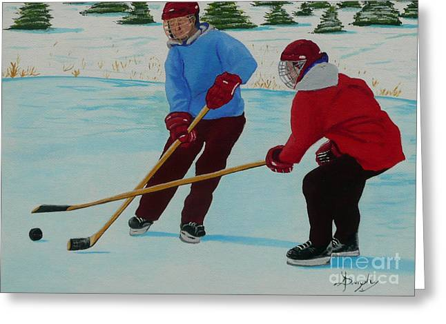 Hockey Paintings Greeting Cards - Faceoff Greeting Card by Anthony Dunphy