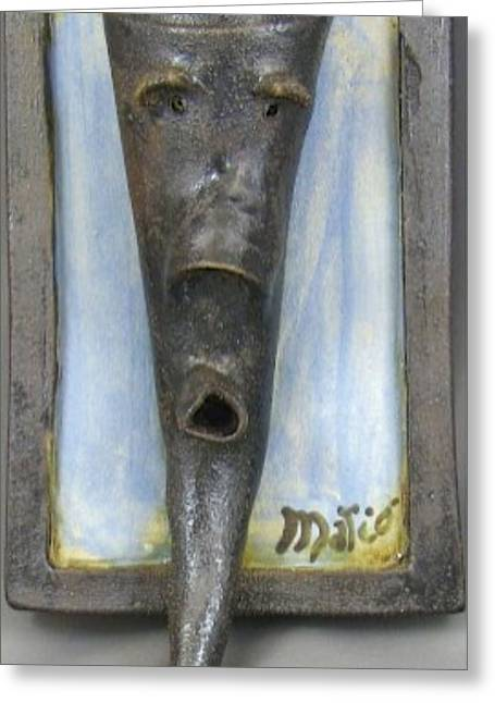 Face Ceramics Greeting Cards - Faces #3 Greeting Card by Mario Perron