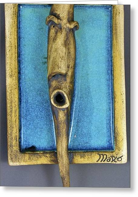Face Ceramics Greeting Cards - Faces #5 Greeting Card by Mario Perron