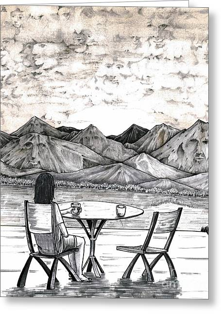 Contemplative Drawings Greeting Cards - Faces in Landscape Greeting Card by Lee Serenethos