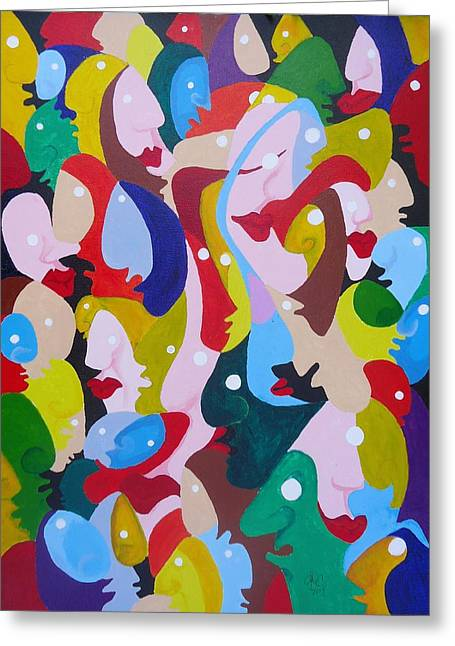 Faces In The Crowd Greeting Card by Glenn Calloway