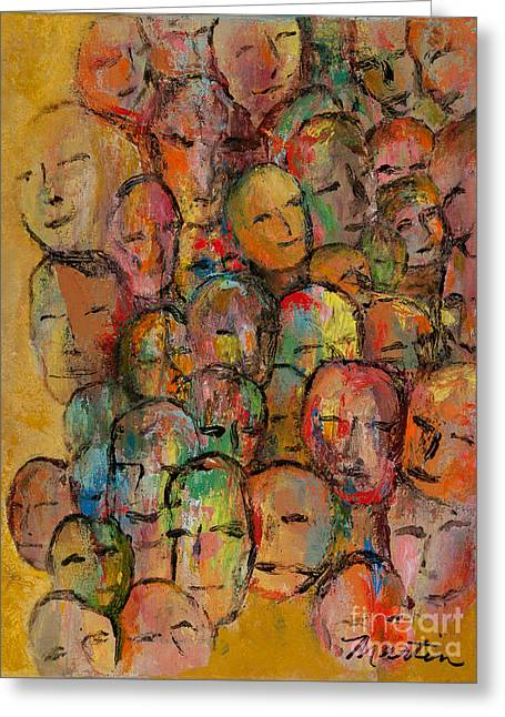 Faces In The Crowd Greeting Card by Larry Martin