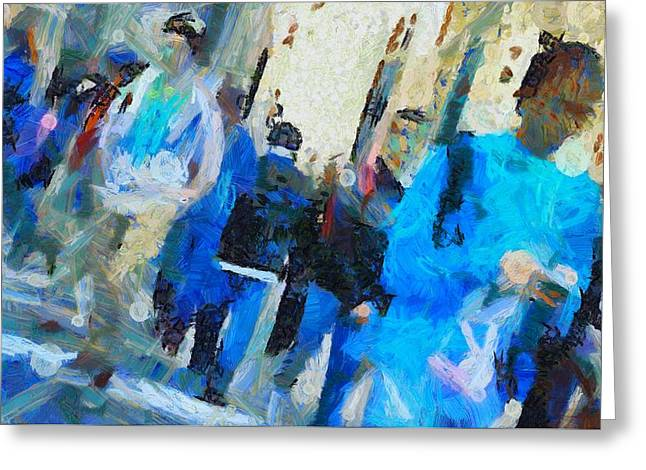 Crowd Mixed Media Greeting Cards - Faces In The Street Greeting Card by Dan Sproul
