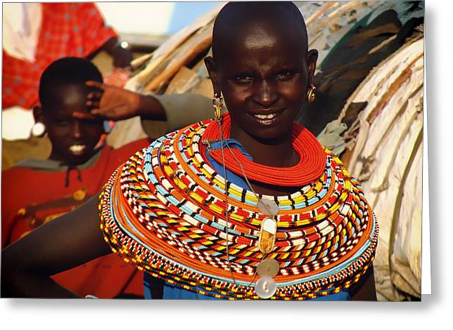 Beaded Necklace Greeting Cards - Faces of Africa Greeting Card by Mountain Dreams