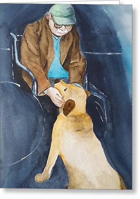Pet Therapy Greeting Cards - Faces of Alzheimers Greeting Card by Cathy Meis