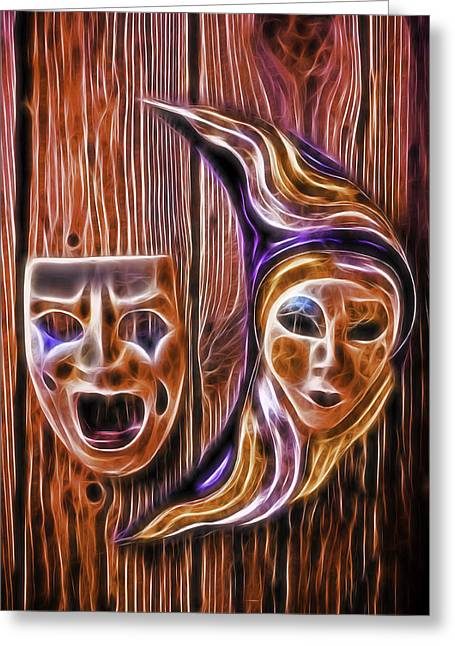 Theater Masks Greeting Cards - Faces On The Wall Greeting Card by Garry Gay