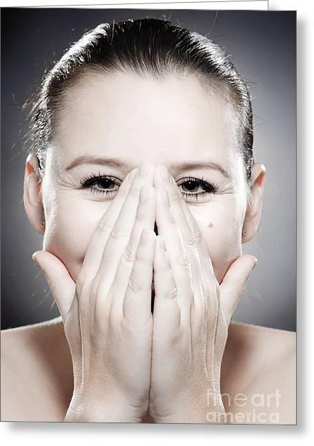 Human Greeting Cards - Facial Expression - Bashful Greeting Card by Wolfgang Steiner
