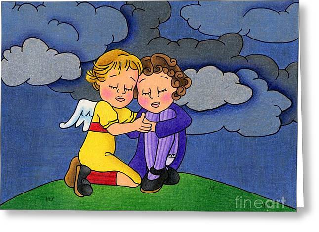 Angel Blues Greeting Cards - Facing It Together Greeting Card by Sarah Batalka