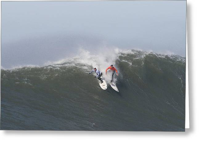 Surfing Contest Greeting Cards - Facing Off On A Big Wave At Mavericks Greeting Card by Scott Lenhart