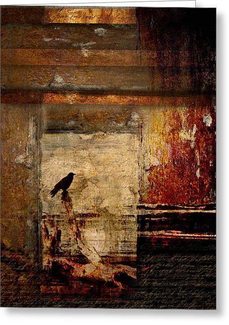 Crow Collage Greeting Cards - Facing Seaward Greeting Card by Carol Leigh