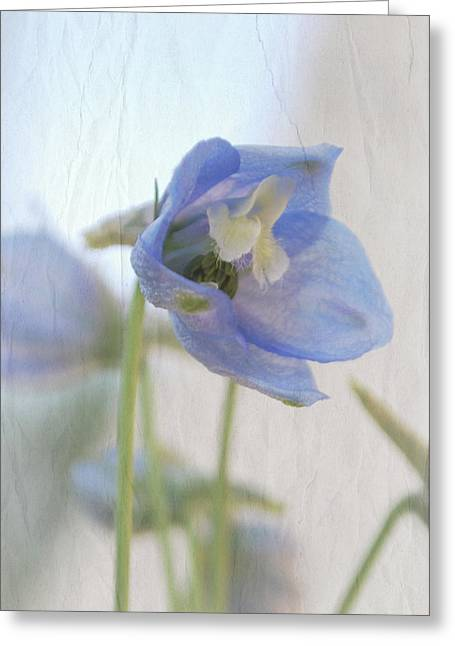 Rumpled Greeting Cards - Facing the Delphinium Greeting Card by Lisa Knechtel
