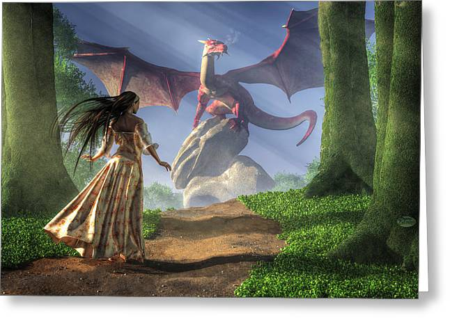 Overcome Greeting Cards - Facing the Red Dragon Greeting Card by Daniel Eskridge
