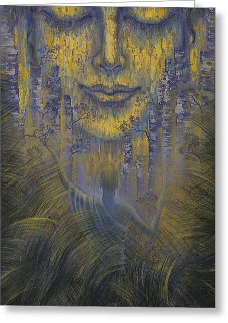 Unity Paintings Greeting Cards - Facing the truth Greeting Card by Vrindavan Das