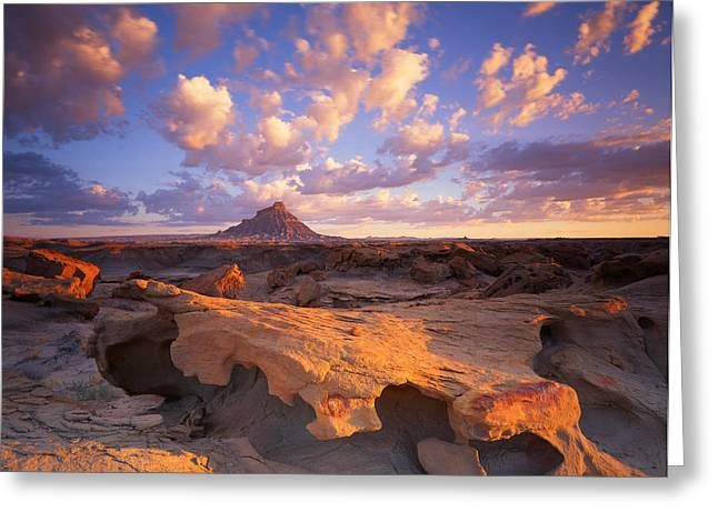 Luna Greeting Cards - Factory Butte Greeting Card by Ray Mathis