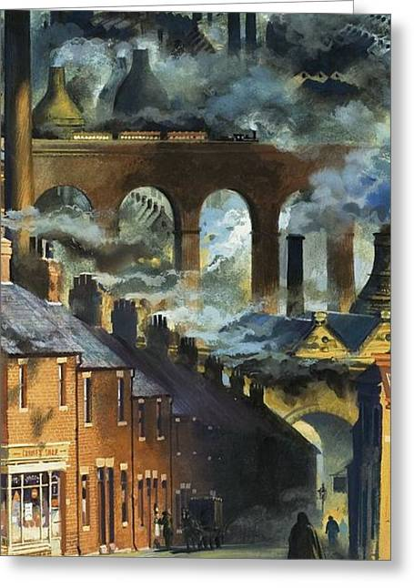 Factories Greeting Cards - Factory Chimneys Greeting Card by Andrew Howat