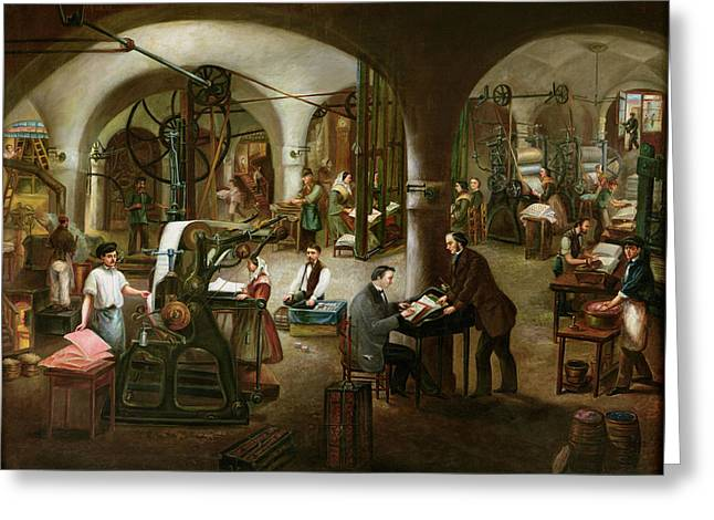 Journalism Greeting Cards - Factory In The Rue Daubagne, 1861 Oil On Canvas Greeting Card by V. Cornis