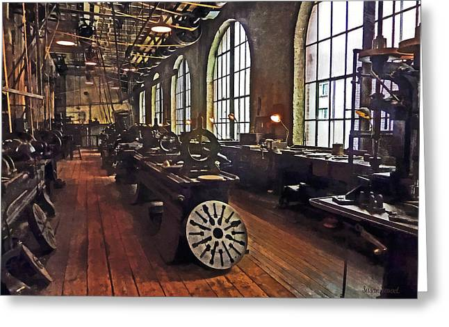 Steam Punk Greeting Cards - Factory Machine Shop Greeting Card by Susan Savad