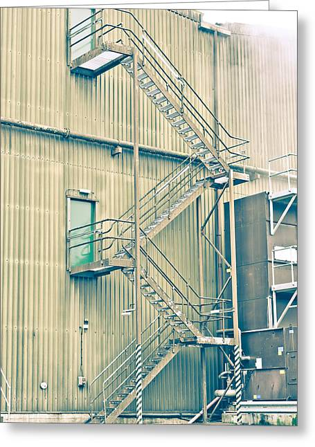 Fume Greeting Cards - Factory steps Greeting Card by Tom Gowanlock