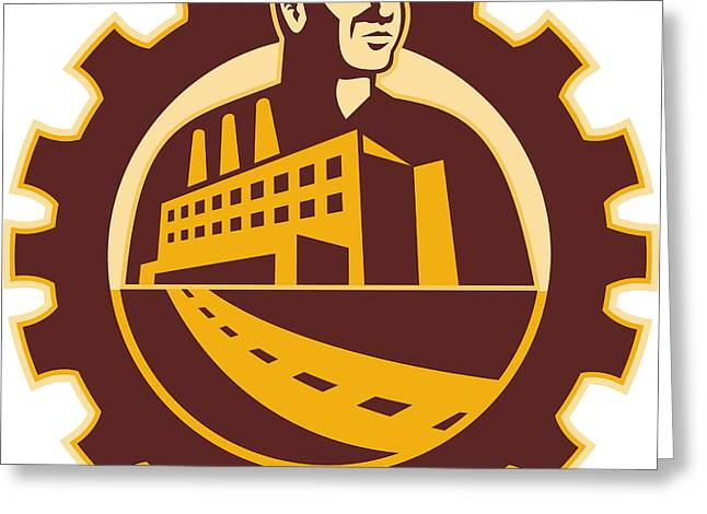Factory Worker Mechanic With Cog Building Greeting Card by Aloysius Patrimonio