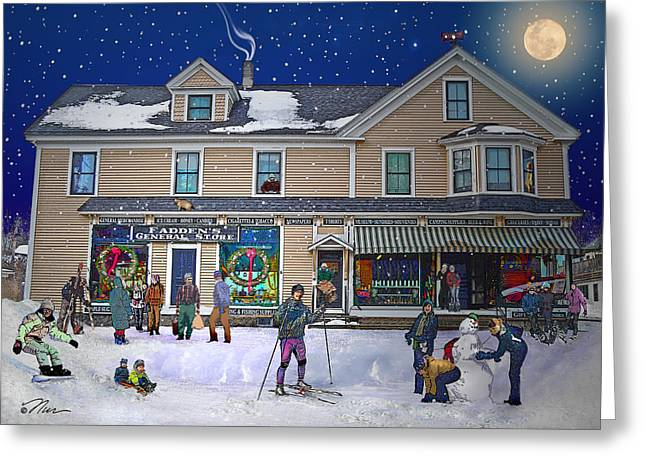 Best Sellers -  - Historic Country Store Greeting Cards - Faddens General Store in North Woodstock NH Greeting Card by Nancy Griswold
