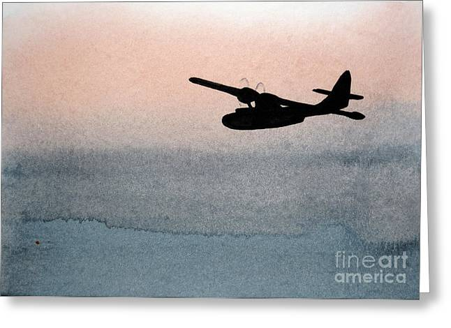 Pby Catalina Greeting Cards - Fade Into Nothingness PBY Over Empty Sea Greeting Card by R Kyllo