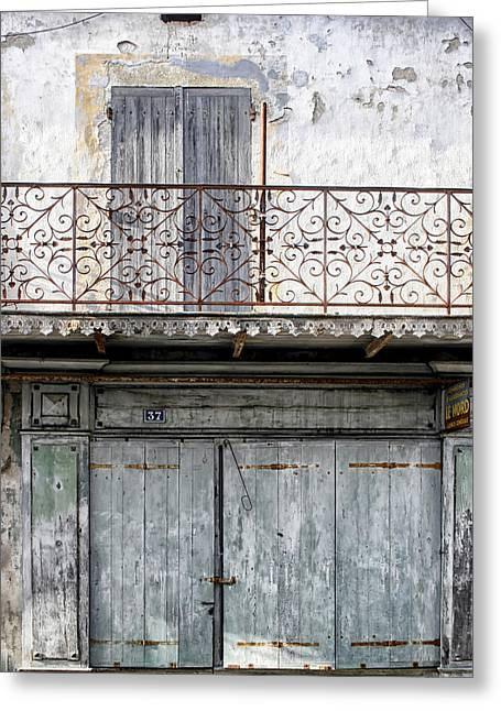 French Doors Greeting Cards - Faded Blue Old French Building Greeting Card by Nomad Art And  Design