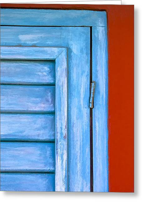 Close Up Paintings Greeting Cards - Faded Blue Shutter III Greeting Card by David Letts