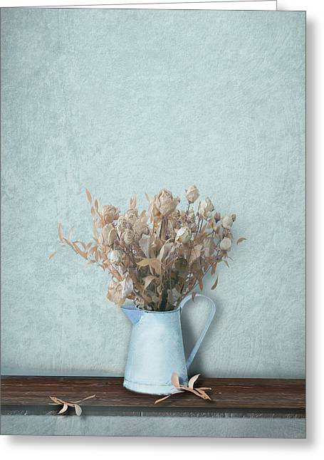 Interior Still Life Photographs Greeting Cards - Faded Bouquet in Blue Greeting Card by Artskratches