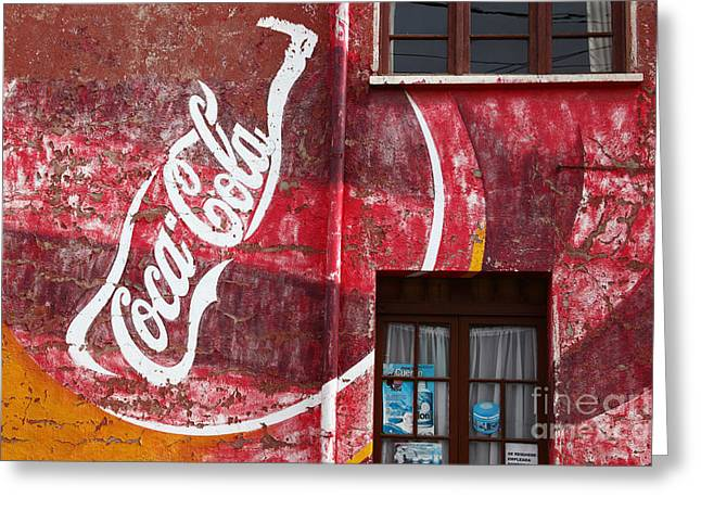 Coca-cola Mural Greeting Cards - Faded Coca Cola mural 1 Greeting Card by James Brunker