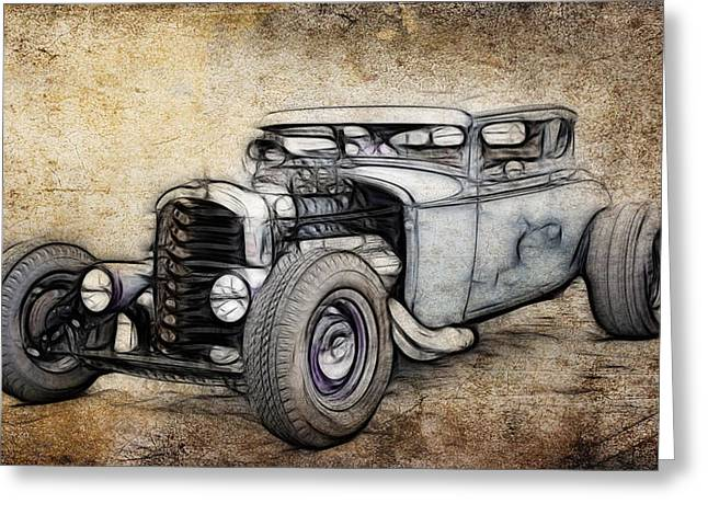 Graffitti Coupe Greeting Cards - Faded Ford Coupe Greeting Card by Steve McKinzie