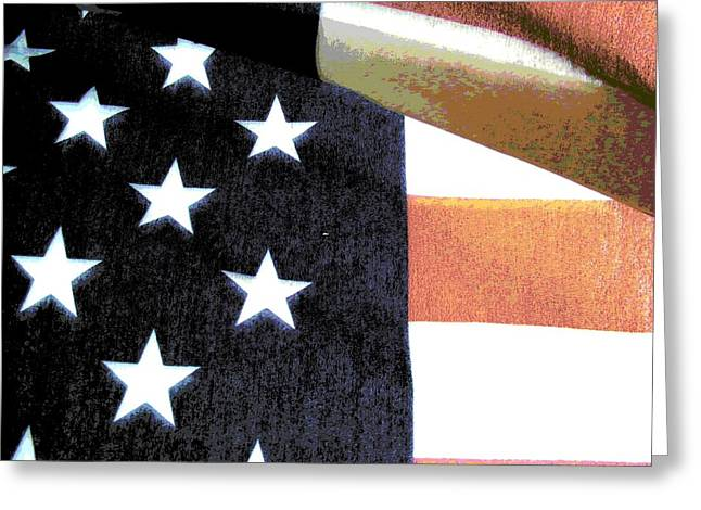 Independence Day Mixed Media Greeting Cards - Faded Glory Greeting Card by Rebecca Flaig