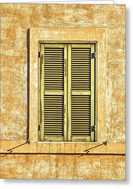 Faded Green Wood Window Shutter Of Medieval Rome  Greeting Card by David Letts