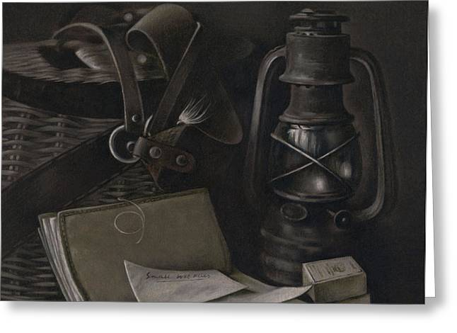 Oil Lamp Drawings Greeting Cards - Faded Memories - drawing Greeting Card by Natasha Denger