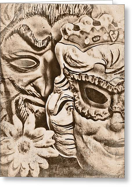 Theater Masks Greeting Cards - Faded Memories Greeting Card by Jeff  Gettis