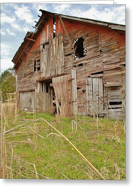 Lewisburg Greeting Cards - Faded Red Barn Greeting Card by Gary Ezell