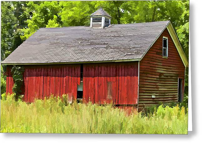 Overgrown Greeting Cards - Faded Red Farm House Greeting Card by David Letts