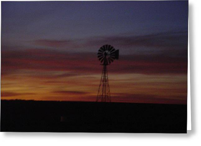 Western Pyrography Greeting Cards - Faded Windmill Greeting Card by Cary Amos