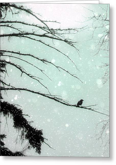 Winter Crows Greeting Cards - Faded Winter Sun Greeting Card by Gothicolors Donna Snyder