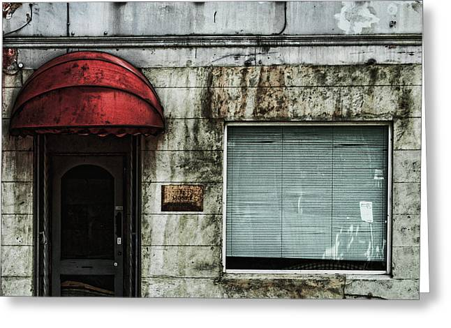 Glass Wall Greeting Cards - Fading Facade Greeting Card by Andrew Paranavitana