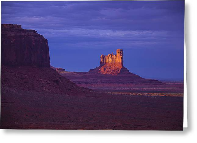 Navajo Tribal Park Greeting Cards - Fading Light Monument Valley Greeting Card by Garry Gay